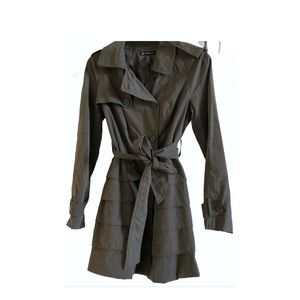 INC Olive Green Ruffled Trench Coat